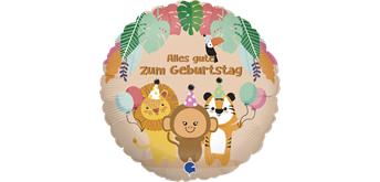 Folienballon Alles Gute zum Geburtstag Tropische Tiere 46 cm
