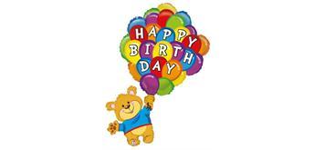 Folienballon Birthday Ballonbär, 106 cm