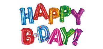 Folienballon Happy B Day 115 x 25 cm, 110 x 25 cm