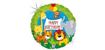 Folienballon Happy Birthday Dschungel 46 cm