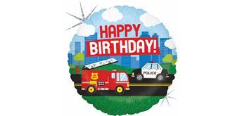 Folienballon Happy Birthday Feuerwehr & Polizei