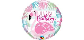 Folienballon Happy Birthday Flamingo Ø 38 cm ohne Füllung