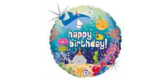 Folienballon Happy Birthday Ozean, 46 cm