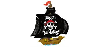 Folienballon Happy Birthday Piratenschiff 117 cm ohne Füllung