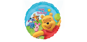 Folienballon Happy Birthday Winnie Pooh Ø 38 cm ohne Füllung
