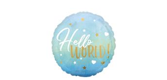 Folienballon Hello World Pastell Blau mit Gold Ø 38 cm