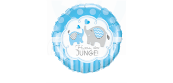 Folienballon Hurra! Ein Junge! hellblau Ø 38 cm ohne Füllung