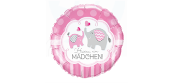 Folienballon Hurra! Ein Mädchen! rosa Ø 38 cm ohne Füllung