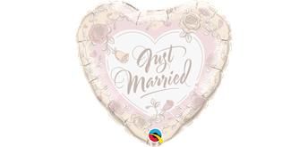 Folienballon Just Married rosa Ø 38 cm ohne Füllung