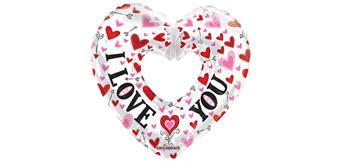 "Folienballon Riesenherz ""I love you"" 91 cm"