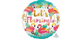 "Folienballon rund 43 cm ""Lets Flamingle"", ohne Füllung"