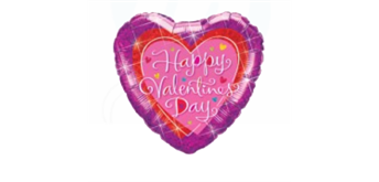Folienballons Ø 38 cm Happy Valentines Day rot-pink holografic Glitzer