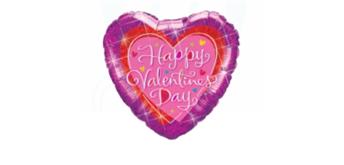 Folienballons Ø 38 cm Happy Valentines Day rot-pink holografic Glitzer