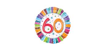 Folienballons - 60. Geburtstag - bunt Ø 38/46 ungefüllt