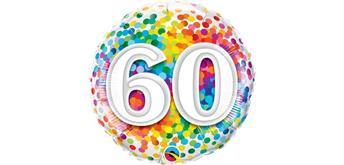 Folienballons - 60 - viele bunte Konfetti Ø 38/46 cm weiss und bunt