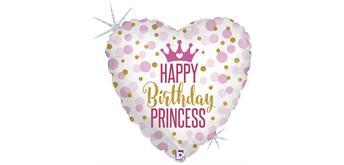 Folienballons Glitter Birthday Princess 46 cm