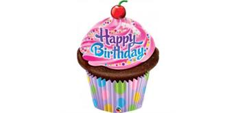 Folienfigur Happy Birthday Cupcake H 89 cm