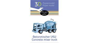 """Fridolin 3-D Papiermodell """"Betonmischer LKW"""""""