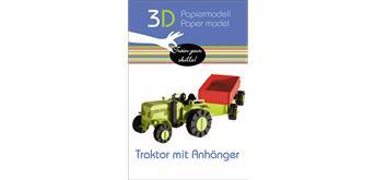 """Fridolin 3-D Papiermodell """"Traktor mit Anhänger"""""""