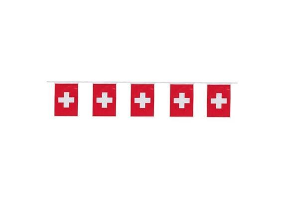 Girlande Flaggen Schweiz, Länge 4 Meter