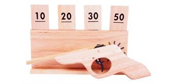 Holzspielerei Mehrfachpistole mit Zielscheibe