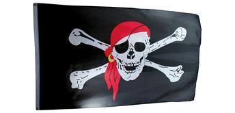Holzspielerei Piratenflagge groß 3-farbig