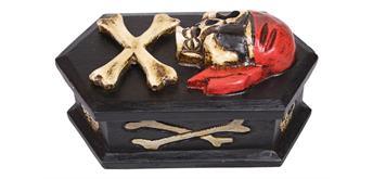 Holzspielerei - Piratentruhe mit 3D Totenkopf sechseckig