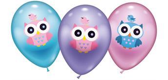 Karaloon - 6 Ballons Eule/Owl 28 -30 cm