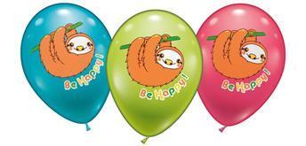 "Karaloon - 6 Ballons Faultier ""be Happy"" 28 - 30 cm"