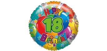 """Karaloon - Folienballon """"Happy Birthday 18"""" 45 cm"""