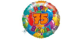 """Karaloon - Folienballon """"Happy Birthday 75"""" 45 cm"""