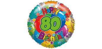 """Karaloon - Folienballon """"Happy Birthday 80"""" 45 cm"""