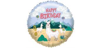 Karaloon - Folienballon Happy Birthday Lama 45 cm