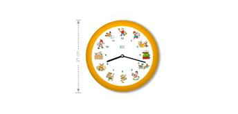KooKoo Uhr Kinderlieder Gelb-Orange SilentMove 21cm