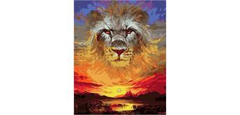 Malen nach Zahlen Set Lion - Sunset 50 x 40 cm