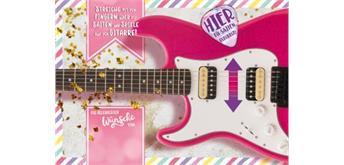 Musikkarte Kindergeburtstag Gitarre pink