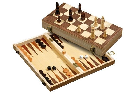 Philos Schach, Backgammon, Dame Set, 40mm