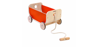 PlanToys Wagen mit Schnur orange