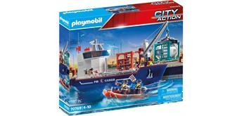 PLAYMOBIL® 70769 Grosses Containerschiff mit Zollboot