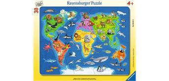 Ravensburger Puzzle 06641 Weltkarten mit Tieren