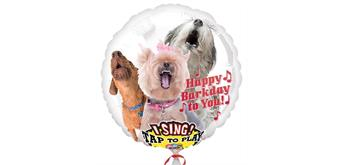 Riesen-Musikballon Ø 74 cm Hunde-Design Happy Barkday To You