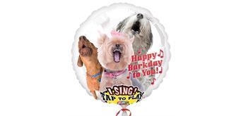 Riesen-Musikballon Ø 74 cm Hunde-Design Happy Barkday To You