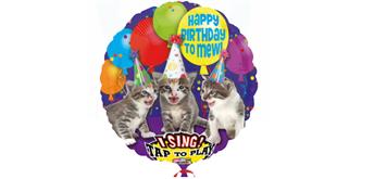 Riesen-Musikballon Ø 74 cm Katzen-Design Happy Birthday to MEW