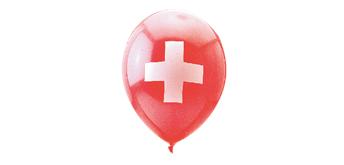 Rundballons Ø 33 cm, rot, CH-Kreuz, 20 Stück