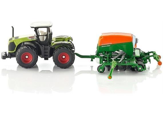 siku Farmer: 1826 Claas Traktor mit Amazone Sämaschine Cayena 6001 [1:87]