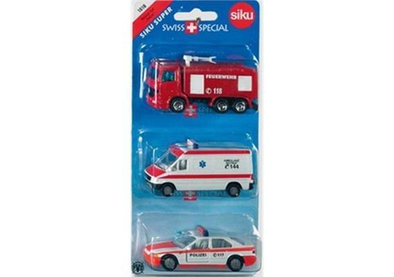 siku Super: 1824 Notruf-Set 'Swiss' - 3er Blister Ambulanz, Feuerwehr, Polizei