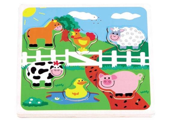 Spielba Holzspielwaren Puzzle Haustiere Sound