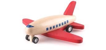 Spielba Rückzug Flugzeug aus Holz rot
