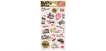 Sticker Herz Text 10.2 x 20 cm