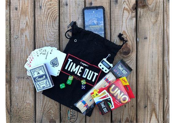 Timeout - Smartphonesafe mit 4 Spielen Schloss weiss